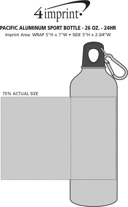 Imprint Area of Pacific Aluminum Sport Bottle - 26 oz. - 24 hr