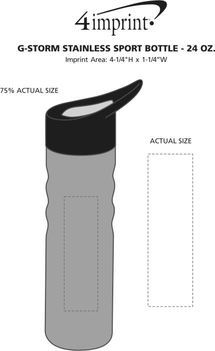 Imprint Area of g-Storm Stainless Sport Bottle - 24 oz.