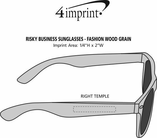 Imprint Area of Risky Business Sunglasses - Fashion Wood Grain