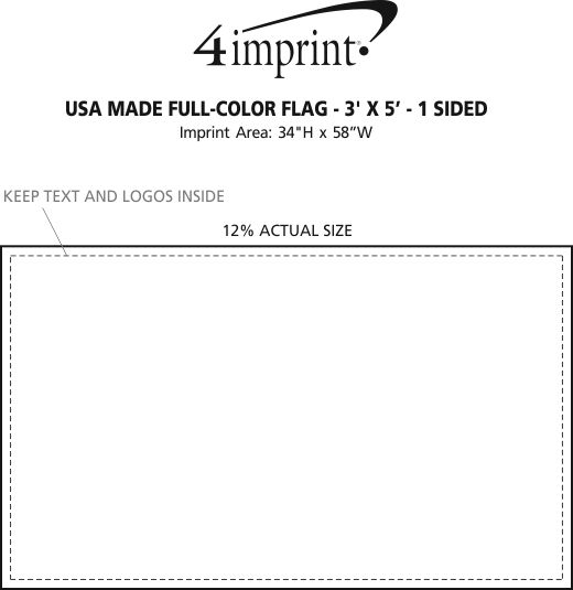 Imprint Area of USA Made Full Color Flag - 3' x 5' - 1-Sided