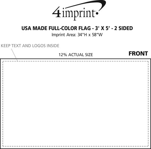 Imprint Area of USA Made Full Color Flag - 3' x 5' - 2-Sided