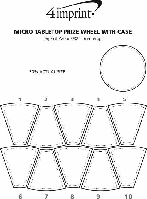 Imprint Area of Micro Tabletop Prize Wheel with Case