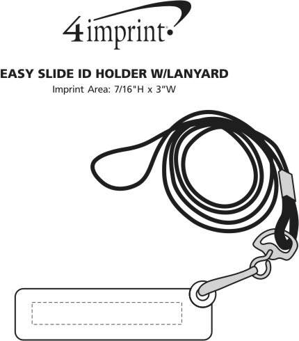 Imprint Area of Easy Slide ID Holder with Lanyard