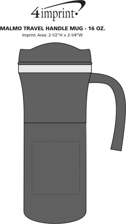 Imprint Area of Malmo Travel Mug with Handle - 16 oz.