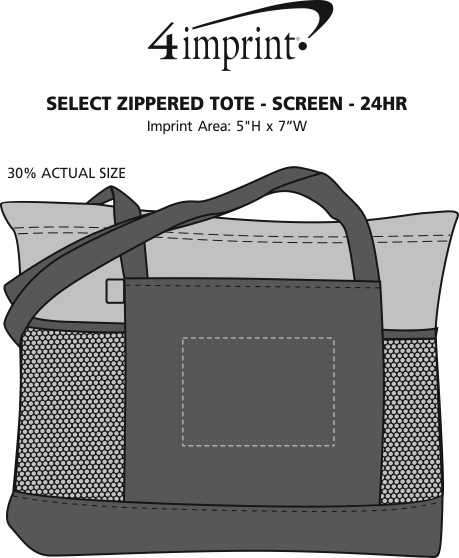 Imprint Area of Select Zippered Tote - Screen - 24 hr