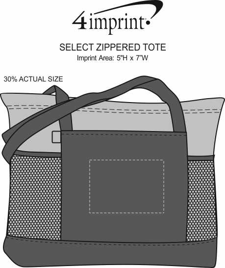 Imprint Area of Select Zippered Tote - Screen