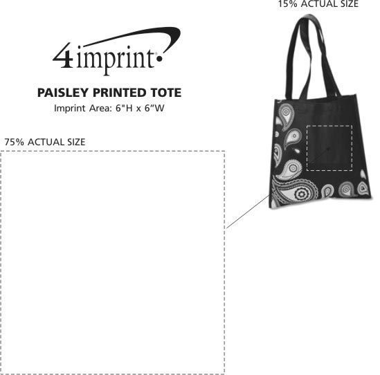 Imprint Area of Paisley Printed Tote