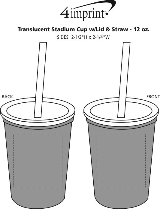 Imprint Area of Translucent Stadium Cup with Lid & Straw - 12 oz.