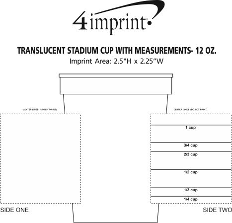 Imprint Area of Translucent Stadium Cup with Measurements- 12 oz.