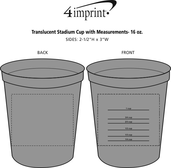 Imprint Area of Translucent Stadium Cup with Measurements- 16 oz.