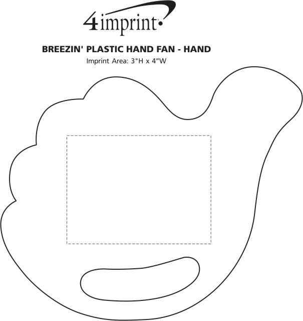 Imprint Area of Breezin' Plastic Hand Fan - Hand