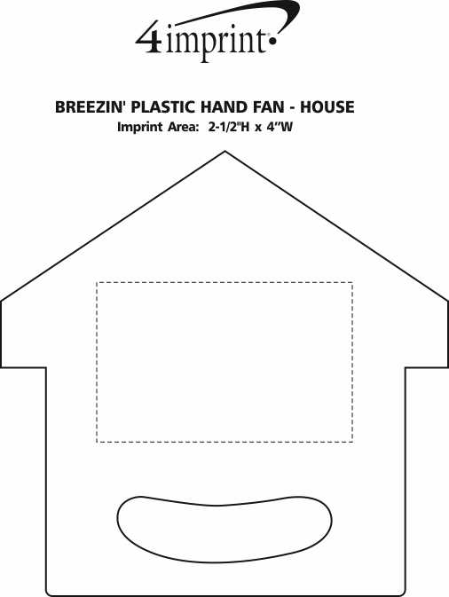 Imprint Area of Breezin' Plastic Hand Fan - House