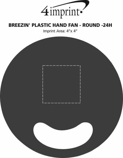 Imprint Area of Breezin' Plastic Hand Fan - Round - 24 hr