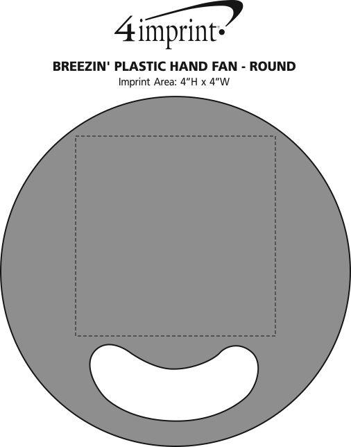 Imprint Area of Breezin' Plastic Hand Fan - Round