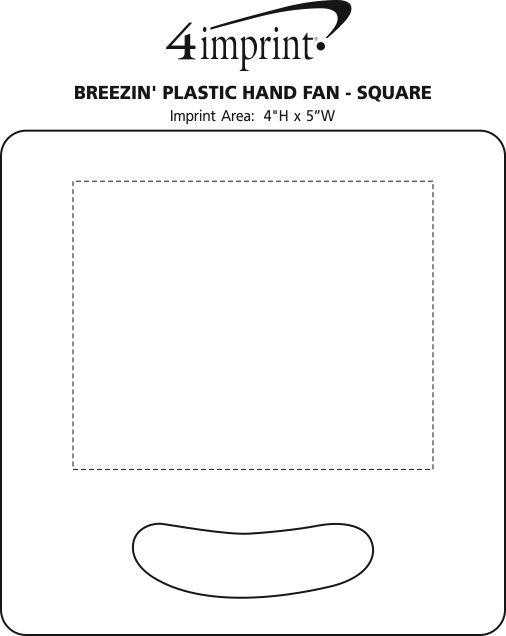 Imprint Area of Breezin' Plastic Hand Fan - Square