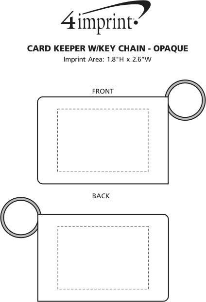 Imprint Area of Card Keeper with Keychain - Opaque