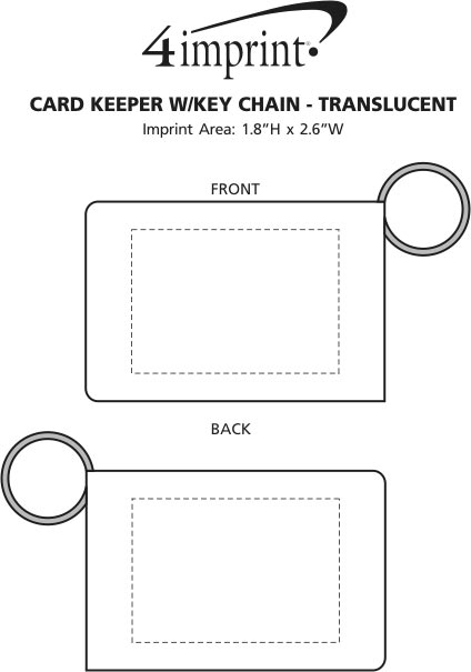Imprint Area of Card Keeper with Keychain - Translucent