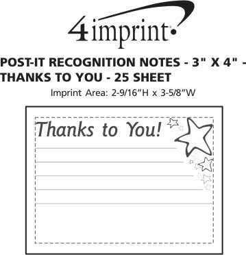 """Imprint Area of Post-it® Recognition Notes - 3"""" x 4"""" - 25 Sheet - Thanks to You"""