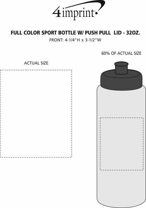 Imprint Area of Full Color Sport Bottle with Push Pull Lid - 32 oz.