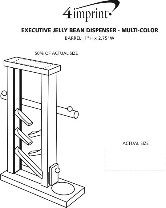 Imprint Area of Executive Jelly Bean Dispenser - Multicolor