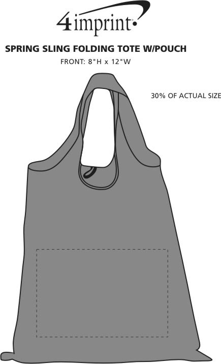 Imprint Area of Spring Sling Folding Tote with Pouch