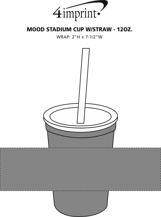 Imprint Area of Mood Stadium Cup with Straw - 12 oz.