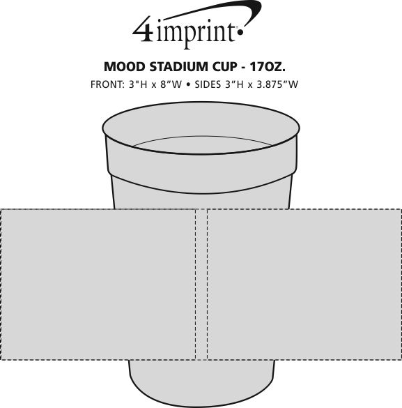 Imprint Area of Mood Stadium Cup with Straw - 17 oz.
