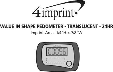 Imprint Area of Value In Shape Pedometer - Translucent - 24 hr