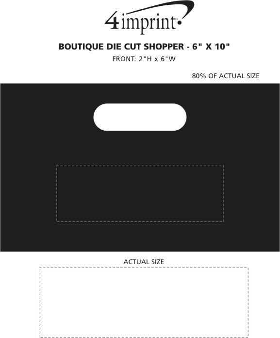 "Imprint Area of Boutique Die Cut Shopper - 6"" x 10"""