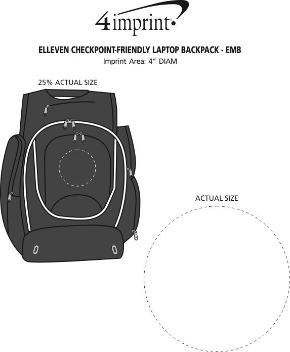 Imprint Area of elleven Checkpoint-Friendly Laptop Backpack - Embroidered