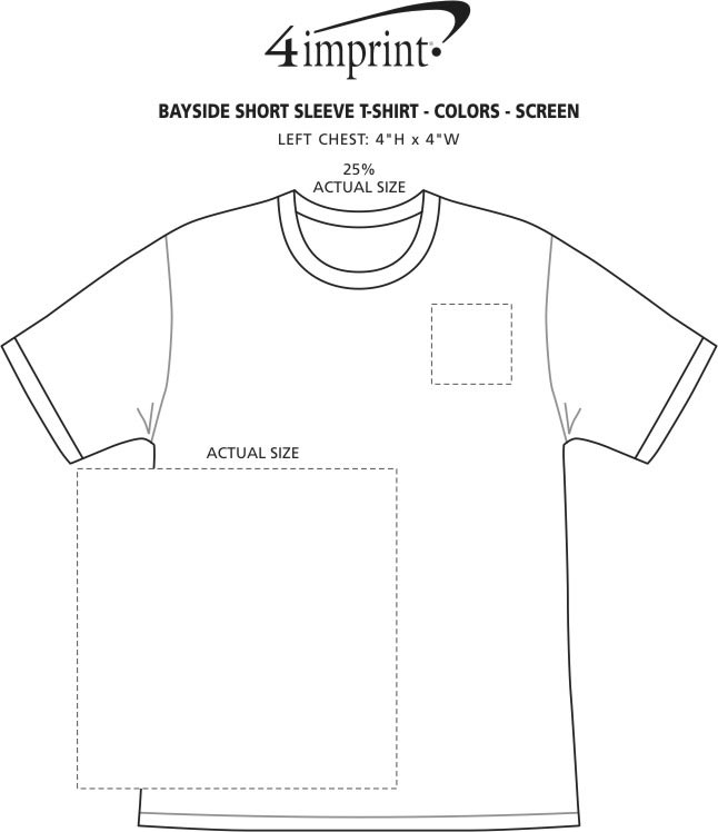 Imprint Area of Bayside USA Made T-Shirt - Colors - Screen