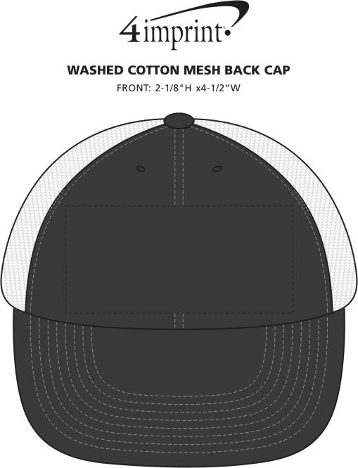 Imprint Area of Washed Cotton Mesh Back Cap