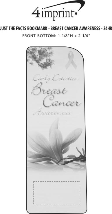 Imprint Area of Just the Facts Bookmark - Breast Cancer Awareness - 24 hr