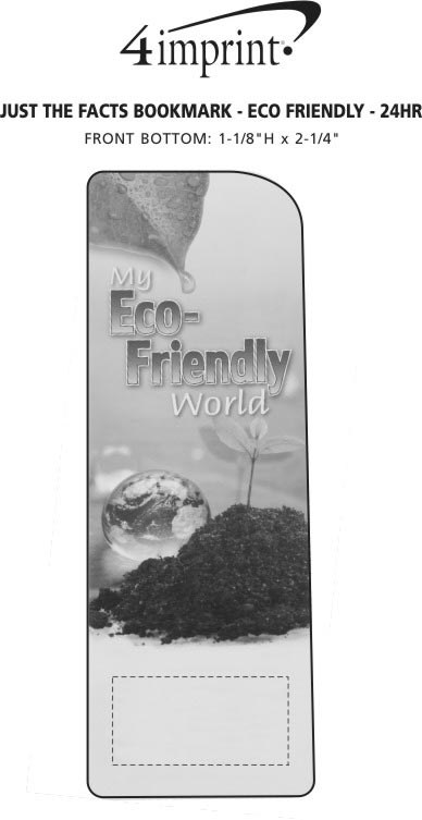 Imprint Area of Just the Facts Bookmark - Eco-Friendly - 24 hr