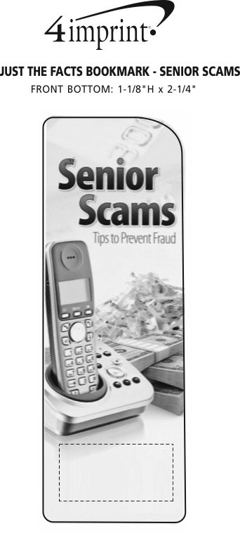 Imprint Area of Just the Facts Bookmark - Senior Scams
