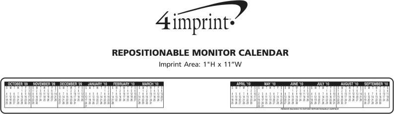 Imprint Area of Repositionable Monitor Calendar