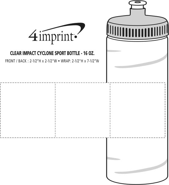Imprint Area of Refresh Cyclone Water Bottle - 16 oz. - Clear
