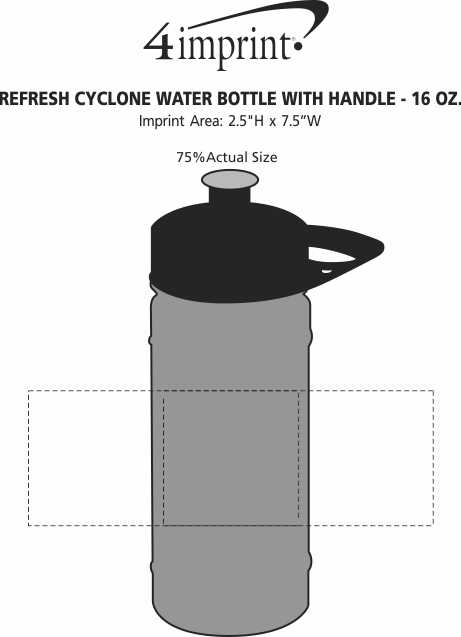 Imprint Area of Refresh Cyclone Water Bottle with Handle - 16 oz.