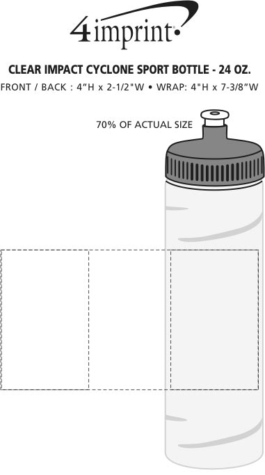 Imprint Area of Refresh Cyclone Water Bottle - 24 oz. - Clear