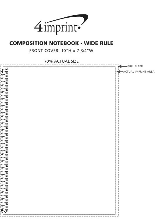 """Imprint Area of Composition Notebook - 10-1/2"""" x 8-1/2"""" - Wide Rule"""