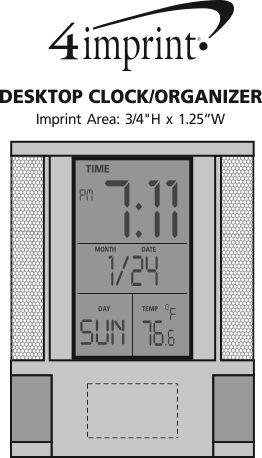 Imprint Area of Desktop Clock/Organizer