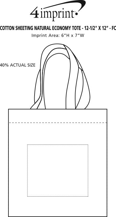 """Imprint Area of Cotton Sheeting Natural Economy Tote - 12-1/2"""" x 12"""" - Full Color"""