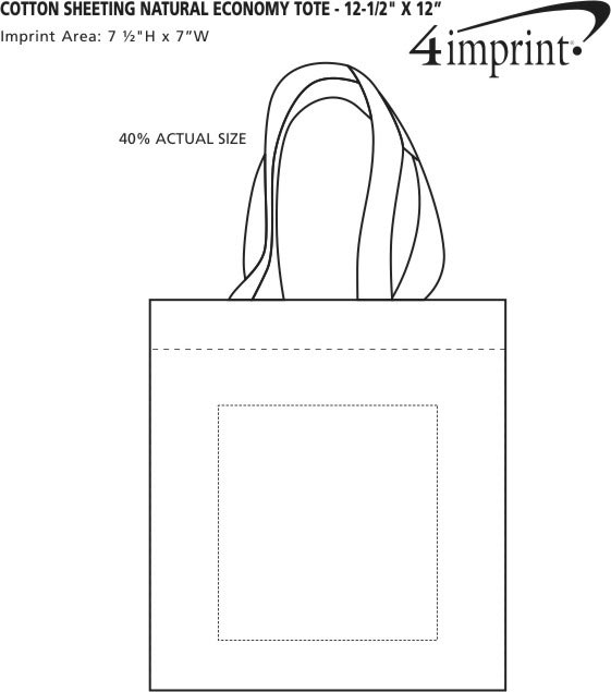 "Imprint Area of Cotton Sheeting Natural Economy Tote - 12-1/2"" x 12"""