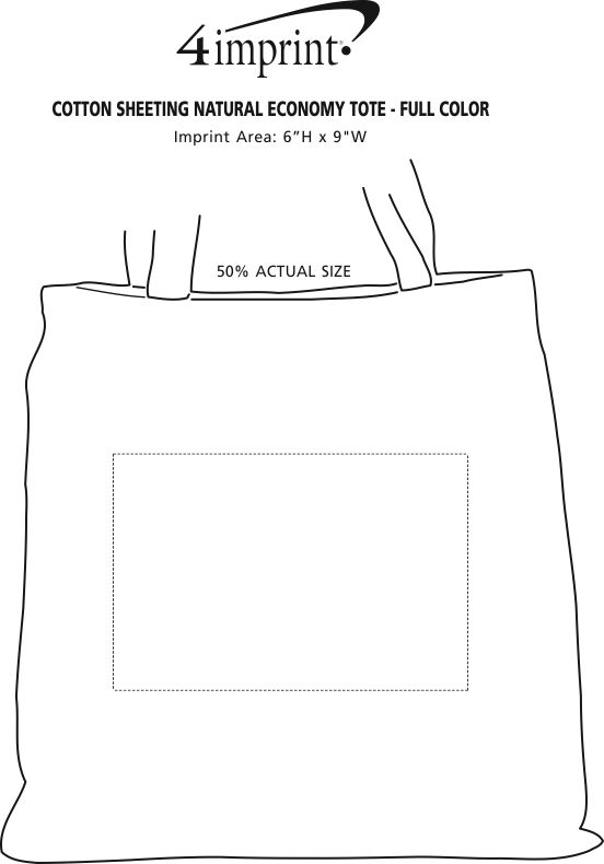 """Imprint Area of Cotton Sheeting Natural Economy Tote - 15-1/2"""" x 15"""" - Full Color"""