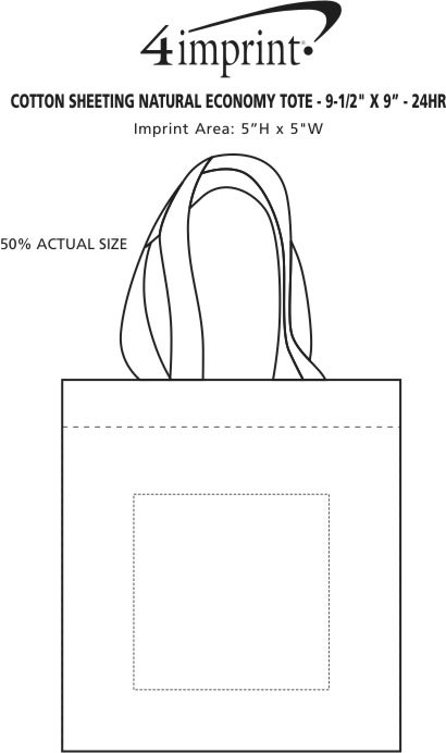 """Imprint Area of Cotton Sheeting Natural Economy Tote - 9-1/2"""" x 9"""" - 24 hr"""