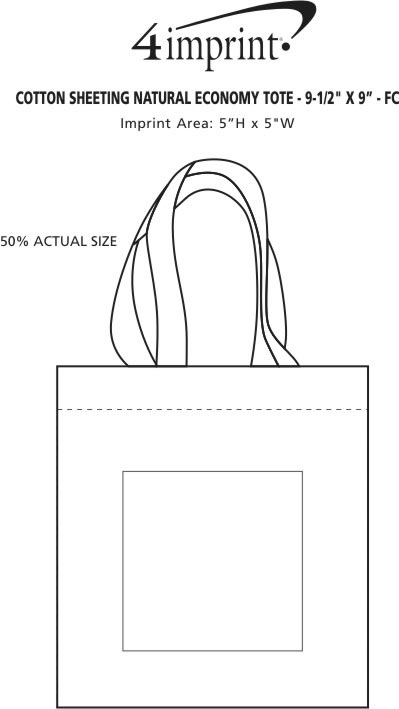 """Imprint Area of Cotton Sheeting Natural Economy Tote - 9-1/2"""" x 9"""" - Full Color"""