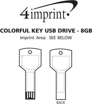 Imprint Area of Colorful Key USB Drive - 8GB
