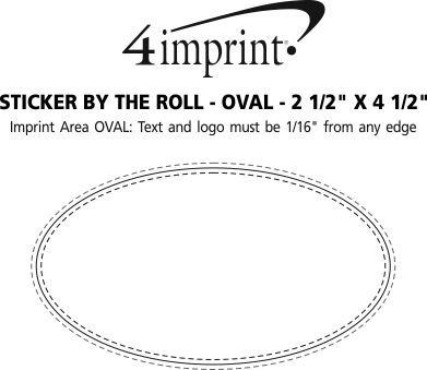 """Imprint Area of Sticker by the Roll - Oval - 2-1/2"""" x 4-1/4"""""""