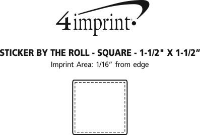 """Imprint Area of Sticker by the Roll - Square - 1-1/2"""" x 1-1/2"""""""