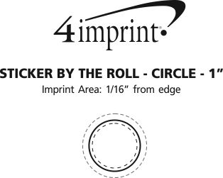 """Imprint Area of Full Color Sticker by the Roll - Circle - 1"""""""
